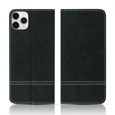iPhone 12 Pro Max atverčiamas dėklas/piniginė SMART SUEDE juodas