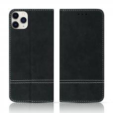 iPhone 12 Pro atverčiamas dėklas/piniginė SMART SUEDE juodas