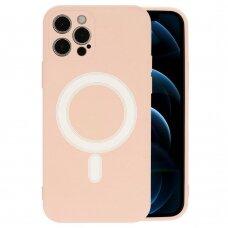 Iphone 12 pro max dėklas Mag Silicone rožinis