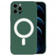 Iphone 12 pro max dėklas Mag Silicone tamsiai žalias
