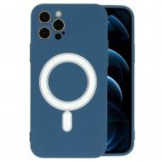 Iphone 12 pro dėklas Mag Silicone tamsiai mėlynas