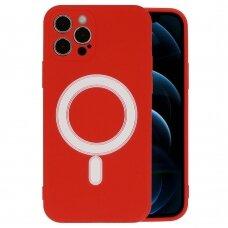 Iphone 12 pro dėklas Mag Silicone raudonas
