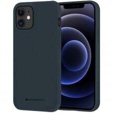 """iphone 12 pro Dėklas Mercury Goospery """"Soft jelly case""""  tamsiai mėlynas"""