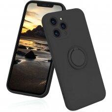 iphone 13 pro max dėklas su magnetu Finger Ring Juodas