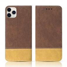 iPhone 12 Pro atverčiamas dėklas/piniginė SMART SUEDE rudas