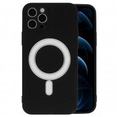 Iphone 12 mini dėklas Mag Silicone juodas