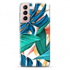 """Samsung Galaxy S21 TPU dėklas unikaliu dizainu 1.0 mm """"u-case Airskin Leaves design"""""""