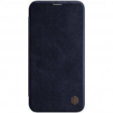 Iphone 12 pro max ATVERČIAMAS DĖKLAS NILLKIN QIN TIKROS ODOS tamsiai mėlynas