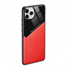 Iphone 12 pro max dėklas su įmontuota metaline plokštele LENS case Raudonas