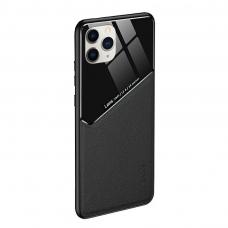 Iphone 12 pro max dėklas su įmontuota metaline plokštele LENS case juodas