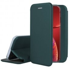 Iphone 13 Pro atverčiamas dėklas Book elegance odinis tamsiai žalias