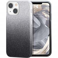 Iphone 13 DĖKLAS GLITTER SHINE SILIKONINIS sidabrinis-juodas