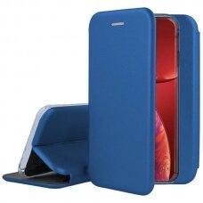 Iphone 13 Pro atverčiamas dėklas Book elegance odinis tamsiai mėlynas
