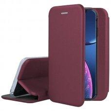 Iphone 13 pro max  atverčiamas dėklas Book elegance odinis bordo