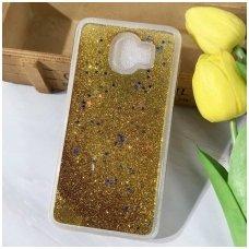 "Samsung J4 Plus 2018 dėklas glitter ""Liquid Water"" silikonas auksinis"