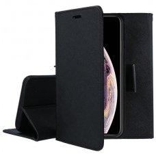 Iphone xs max atverčiamas dėklas fancy diary medžiaginis pluoštas+tpu juodas