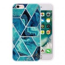 iphone se 2020 Geometric Marmur silikonas tamsiai mėlynas