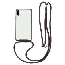 iphone xr dėklas su virvute Strap skaidrus-juodas