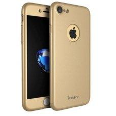 Iphone 7/ Iphone 8 dėklas priekinė, galinė dalis, grūdintas stiklas, pilna 360 laipsnių apsauga aukso spalvos