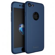 Iphone 7 dėklas priekinė, galinė dalis, grūdintas stiklas, pilna 360 laipsnių apsauga mėlynas