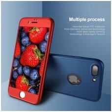 iphone 7/8 DĖKLAS ipaky 360 model PRIEKINĖ, GALINĖ DALIS, GRŪDINTAS SIKLAS, PILNA 360 LAIPSNIŲ APSAUGA raudonas