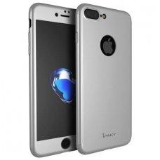 Iphone 7 dėklas priekinė, galinė dalis, grūdintas stiklas, pilna 360 laipsnių apsauga sidabro spalvos