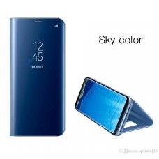 Iphone 7 plus / 8 plus  Atverčiamas dėklas CLEAR VIEW mėlynas permatomas - veidrodinis priekinis dangtelis