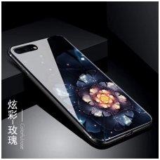 iphone 7 plus / 8 plus dėklas black glass grūdintas stiklas+tpu su gėle