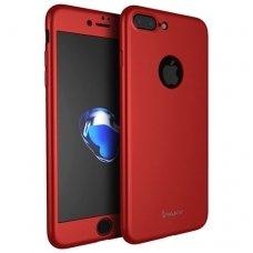 IPHONE 7 plus / 8 plus DVIPUSIS DĖKLAS IPAKY 360 PC PLASTIKAS GRŪDINTAS STIKLAS raudonas