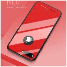 Iphone 7 plus/8 plus Dėklas ROCK Brilliant raudonas PC plastikas ir grūdinto stiklo plokštelė