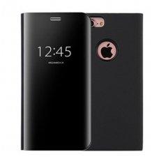Iphone 7/8 atverčiamas dėklas Clear View veidrodiniu-permatomu dangteliu juodas