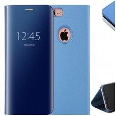 Iphone 7/8 atverčiamas dėklas Clear View veidrodiniu-permatomu dangteliu mėlynas