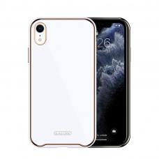 Iphone XR dėklas Glass Case stiklas+tpu baltas