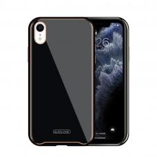 Iphone XR dėklas Glass Case stiklas+tpu juodas