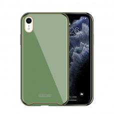 Iphone XR dėklas Glass Case stiklas+tpu šviesiai žalias