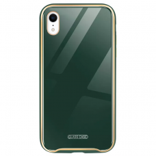 Akcija! Iphone XR dėklas Glass Case stiklas+tpu tamsiai žalias
