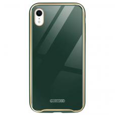 Iphone XR dėklas Glass Case stiklas+tpu tamsiai žalias