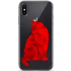 """Iphone Xs MAX TPU dėklas unikaliu dizainu 1.0 mm """"u-case airskin Red Cat design"""""""