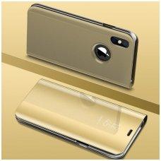 Iphone Xs max atverčiamas dėklas Clear View veidrodiniu-permatomu dangteliu auksinis