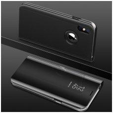 Iphone xs max atverčiamas dėklas Clear View veidrodiniu-permatomu dangteliu juodas