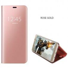 Iphone X/ XS atverčiamas dėklas Clear View veidrodiniu-permatomu dangteliu rožinis