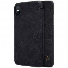 Iphone X/ XS atverčiamas dėklas Nillkin qin tikros odos Juodas