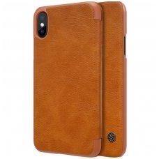 Iphone X/ XS atverčiamas dėklas Nillkin qin tikros odos rudas