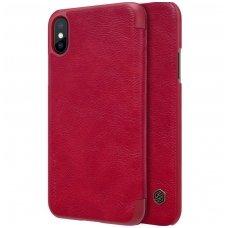Iphone X/ XS atverčiamas dėklas Nillkin qin tikros odos raudonas