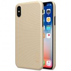 Iphone X/ XS dėklas nillkin frosted PC plastikas aukso spalvos