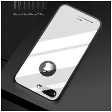 Iphone 7 plus/ 8 plus Dėklas ROCK Brilliant baltas PC plastikas su grūdinto stiklo plokštele