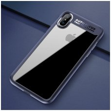 Iphone X/ XS Dėklas ROCK Clarity serijos skaidrus TPU IR PC PLASTIKAS mėlynais kraštais