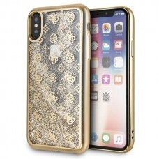 akcija! Iphone x / xs originalus dėklas GUESS Peony Liquid Glitter auksinis viduje su blizgučiais