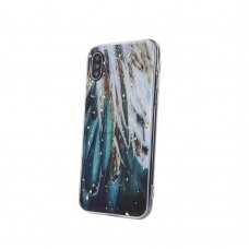 iphone xr dėklas GLITTER MARBLE silikonas Plunksnos