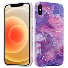 Iphone X/ XS dėklas MX MARBLE silikonas rožinis